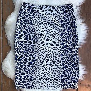 Worthington Blue Black Cheetah Skirt